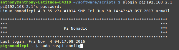 SSH terminal session on the Nomadic Pi car computer